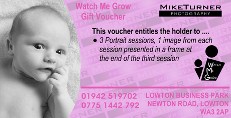 summary of Newborn baby photoshoot voucher from Mike Turner Photography Wiga, Warrington, Greater Manchester