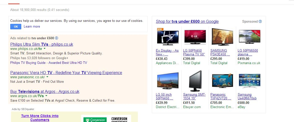 graphic showing initial search for tv's PPC ads