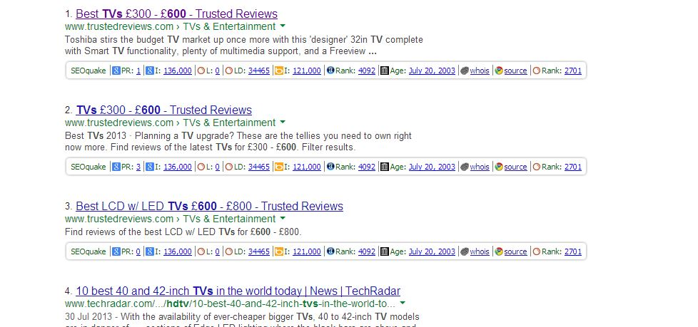graphic showing initial search for tv's