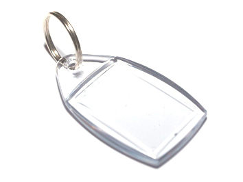 P5 acrylic keyrings 45mmx35mm supplied with or without printed insert.
