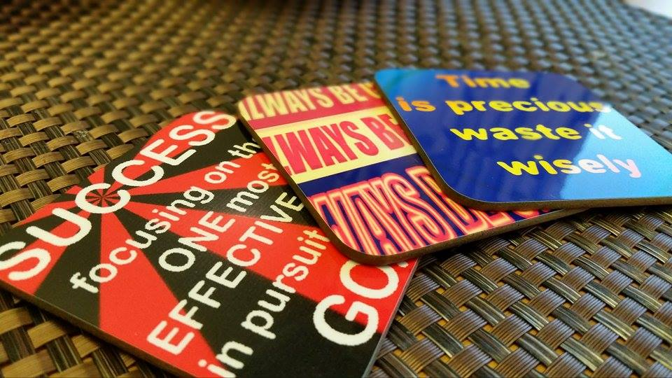 uy a pack of coaster with inspirational quotes printed on them