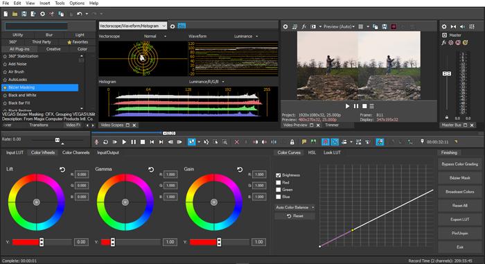 vegas pro screenshot colour grading